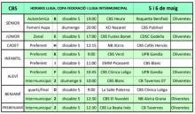 Horaris Jornada 5/05/2018